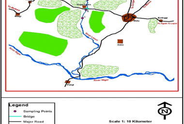 Map of study area showing sampling points on River Lavun.